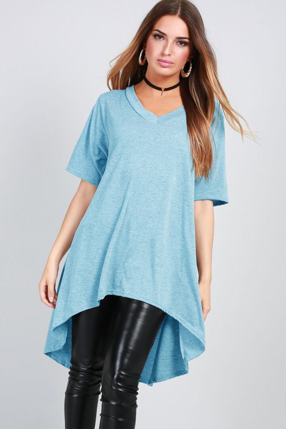 Tillie Dipped Hem Oversized Tshirt Dress - bejealous-com