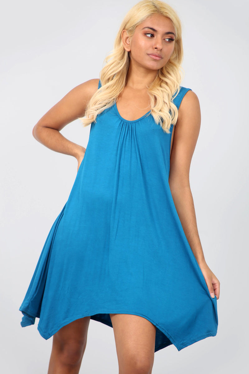 Sleeveless Hanky Hem Basic Mini Dress - bejealous-com