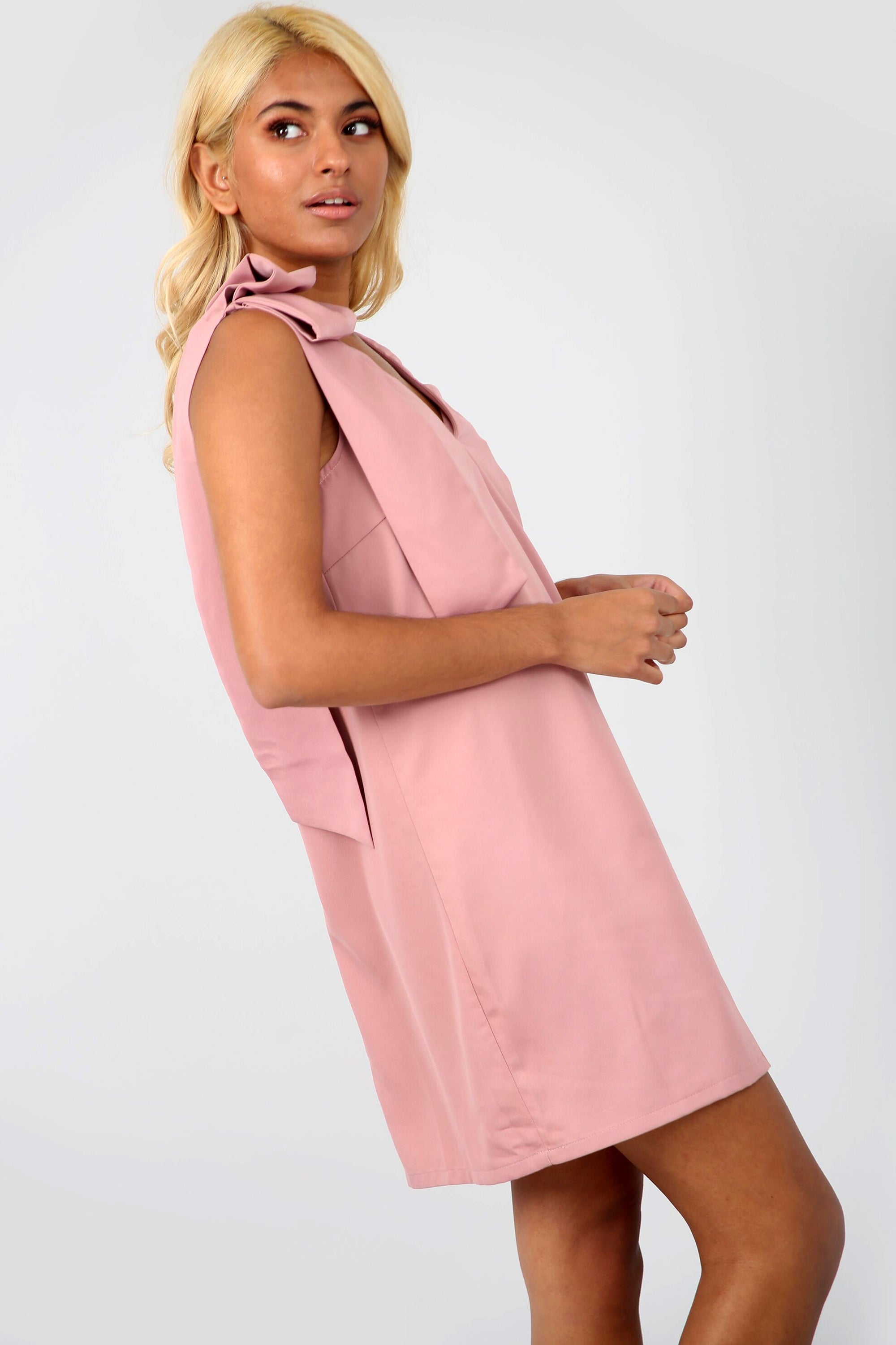 Bow Shoulder Pink Sleeveless V Neck Shift Dress - bejealous-com
