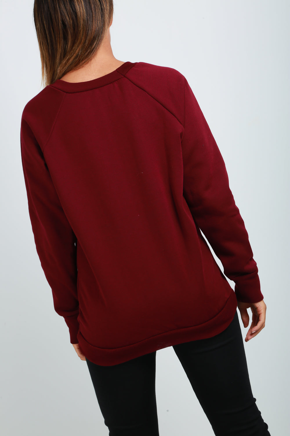 Long Sleeve Graphic Skull Print Burgundy Sweatshirt - bejealous-com