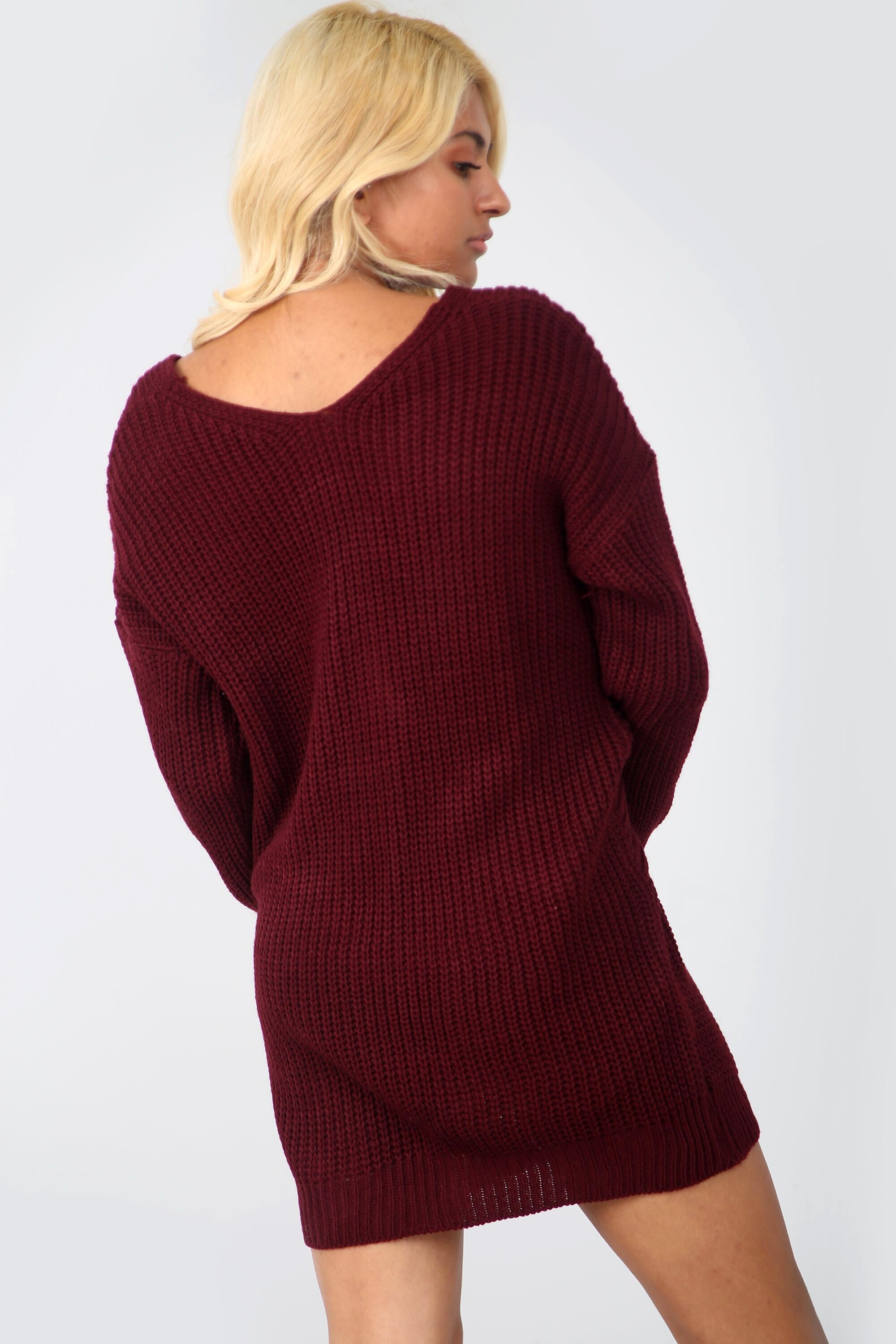 Burgundy Twist Front Oversize Knitted Jumper Dress - bejealous-com