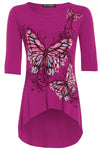 Cropped Sleeve Butterfly Print Curved Hem Top - bejealous-com