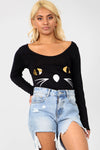 Long Sleeve Cat Face Halloween Bodysuit - bejealous-com