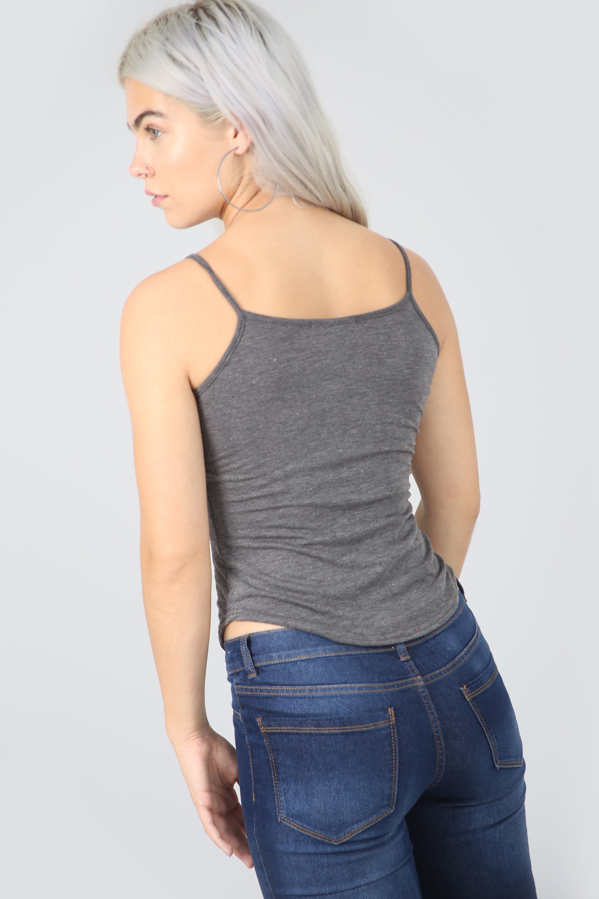 Cami Curved Hem Grey Basic Jersey Vest Top - bejealous-com
