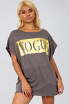 Oversize Vogue Metallic Slogan Print Grey Tshirt - bejealous-com