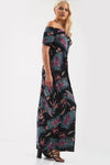Off Shoulder Black Tropical Print Maxi Dress