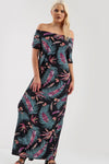 Off Shoulder Black Tropical Print Maxi Dress - bejealous-com