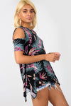 Cold Shoulder Tropical Print Dipped Hem Top - bejealous-com