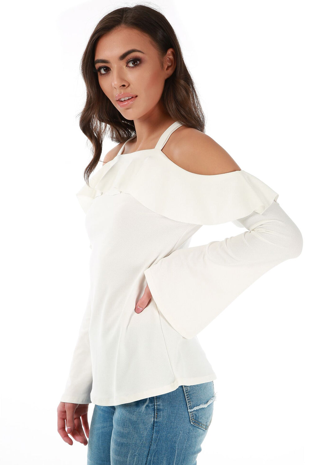 Cold Shoulder Flute Sleeve Frilly Top - bejealous-com