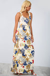 Racer Back Cream Slinky Floral Maxi Dress - bejealous-com