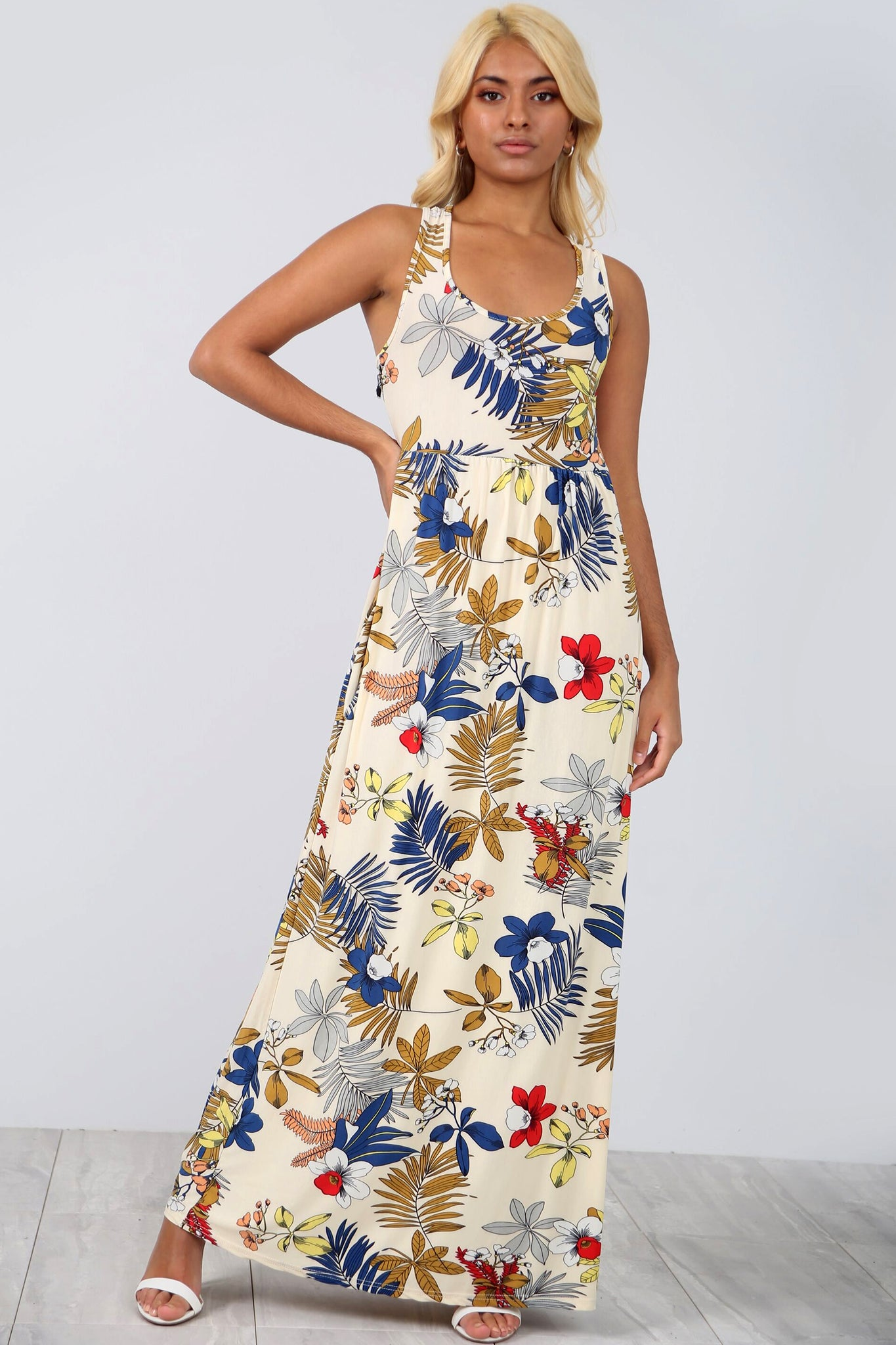 Racer Back Slinky Floral Maxi Dress With Pockets - bejealous-com