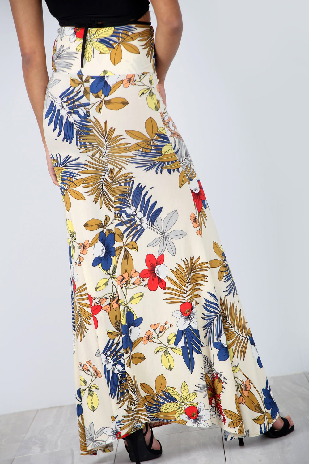 High Waist Beige Floral Fishtail Maxi Skirt