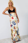 High Waist Beige Floral Fishtail Maxi Skirt - bejealous-com