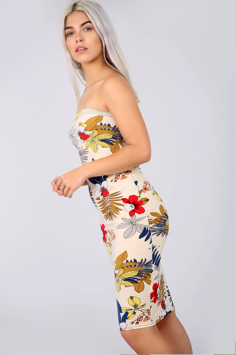 Bandeau Multi Floral Print Cream Bodycon Dress - bejealous-com