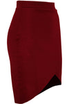 High Waisted Red Mini Asymmetric Wrap Skirt - bejealous-com