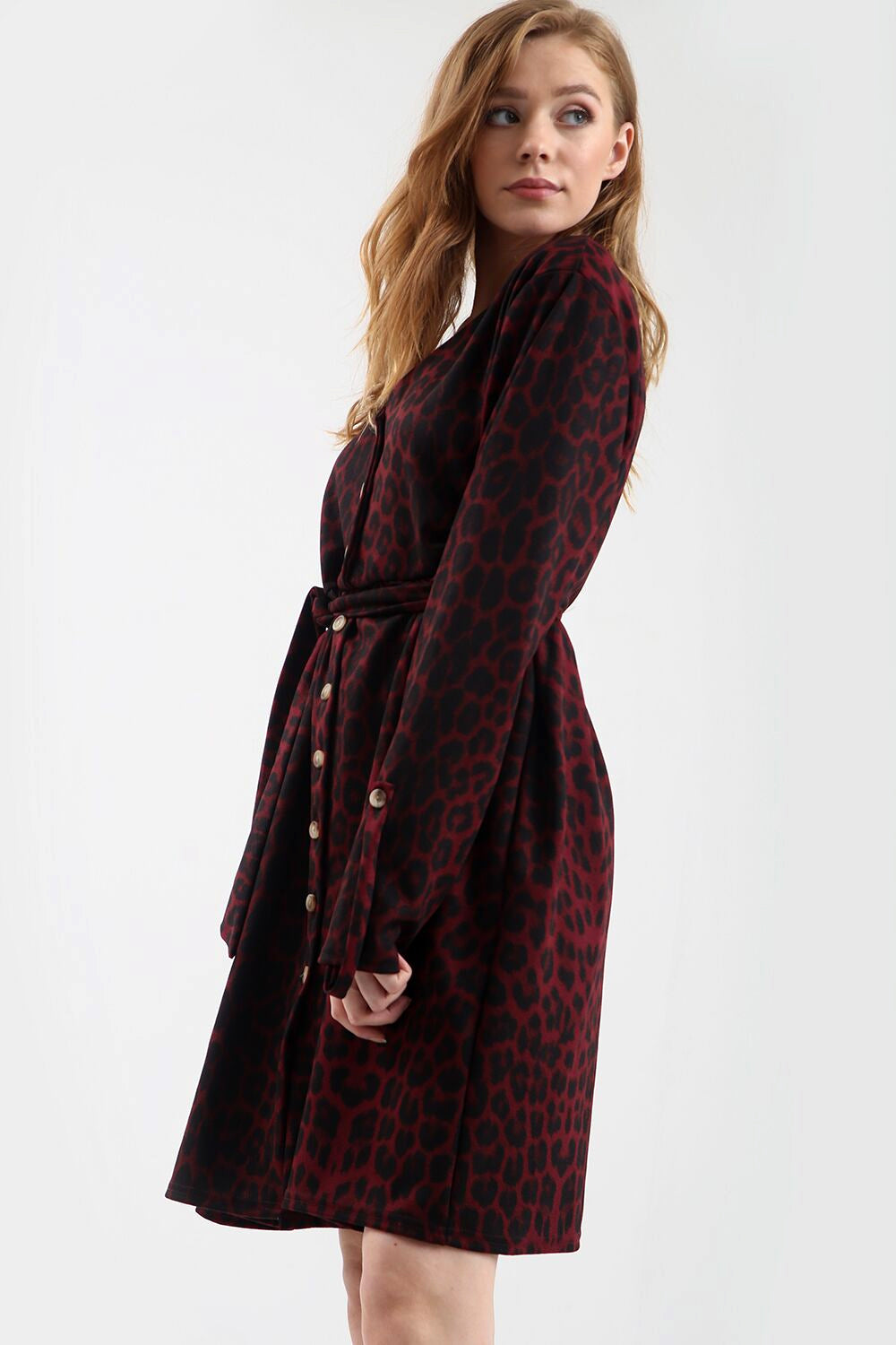 Long Sleeve Button Down Leopard Print Midi Dress - bejealous-com