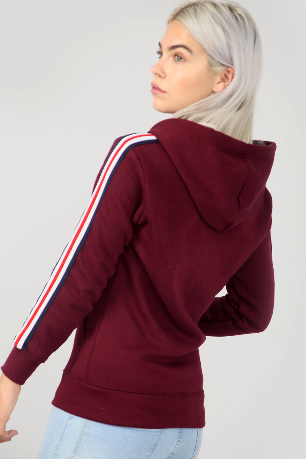 Striped Sleeve Burgundy Zip Front Hoodie - bejealous-com
