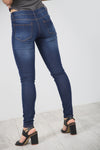 High Waist Blue Dark Wash Denim Jeans - bejealous-com