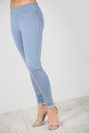 High Waist Light Blue Denim Skinny Jeggings - bejealous-com