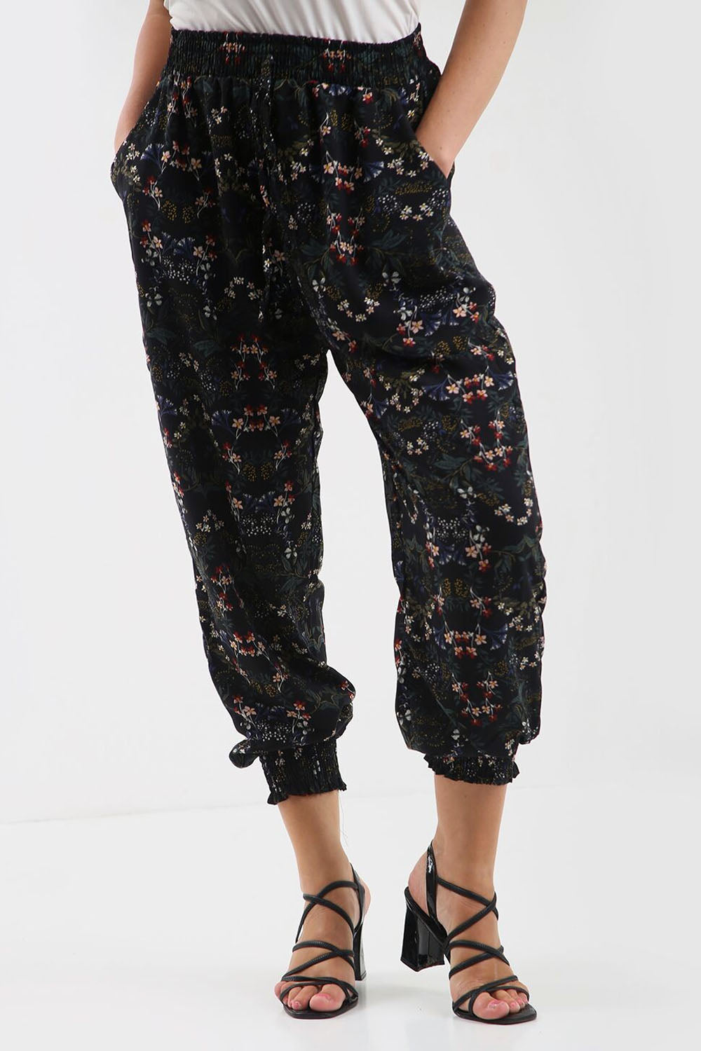 High Waist Black Floral Cuffed Leg Trousers