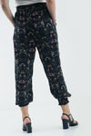 High Waist Black Floral Cuffed Leg Trousers - bejealous-com