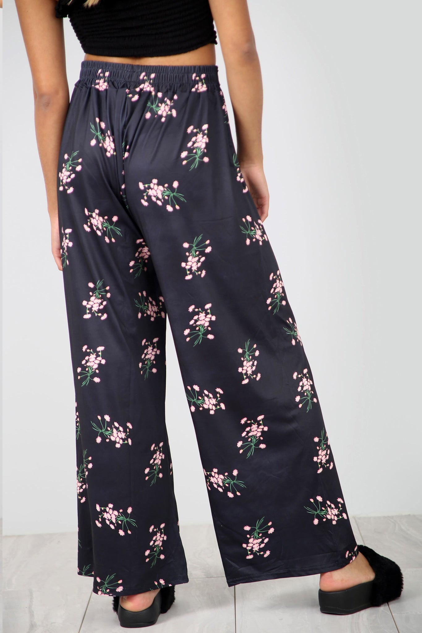High Waist Belted Pink Floral Palazzo Trousers - bejealous-com