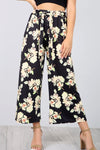 High Waist Red Floral Print Culotte Trousers - bejealous-com