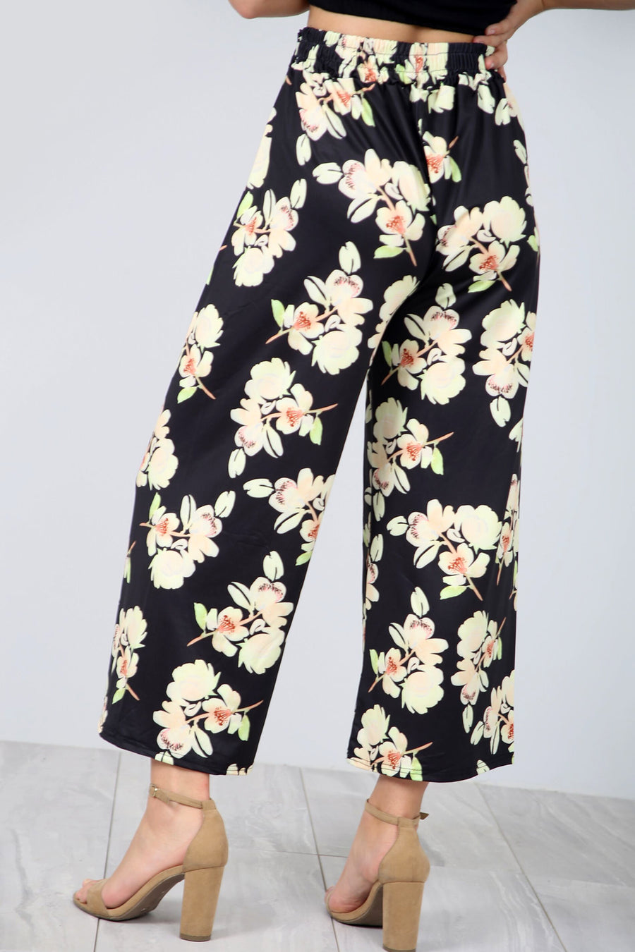 High Waisted Floral Print Culotte Trousers - bejealous-com