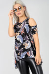 Cold Shoulder Floral Print Dipped Hem Top - bejealous-com