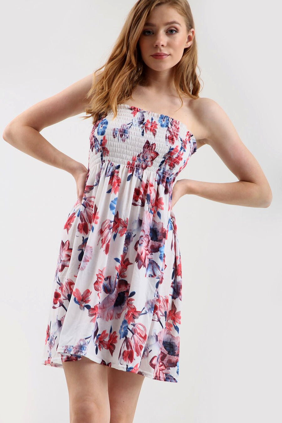 Sammi Sheering Strapless Floral Swing Dress - bejealous-com