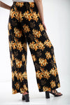 High Waist Yellow Floral Wide Leg Trousers - bejealous-com