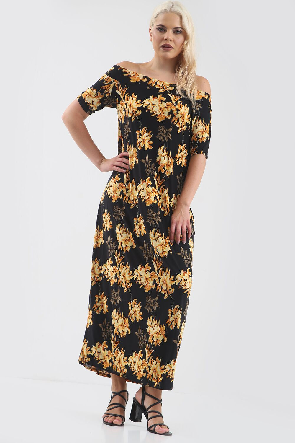 Black Off Shoulder Gold Floral Print Maxi Dress