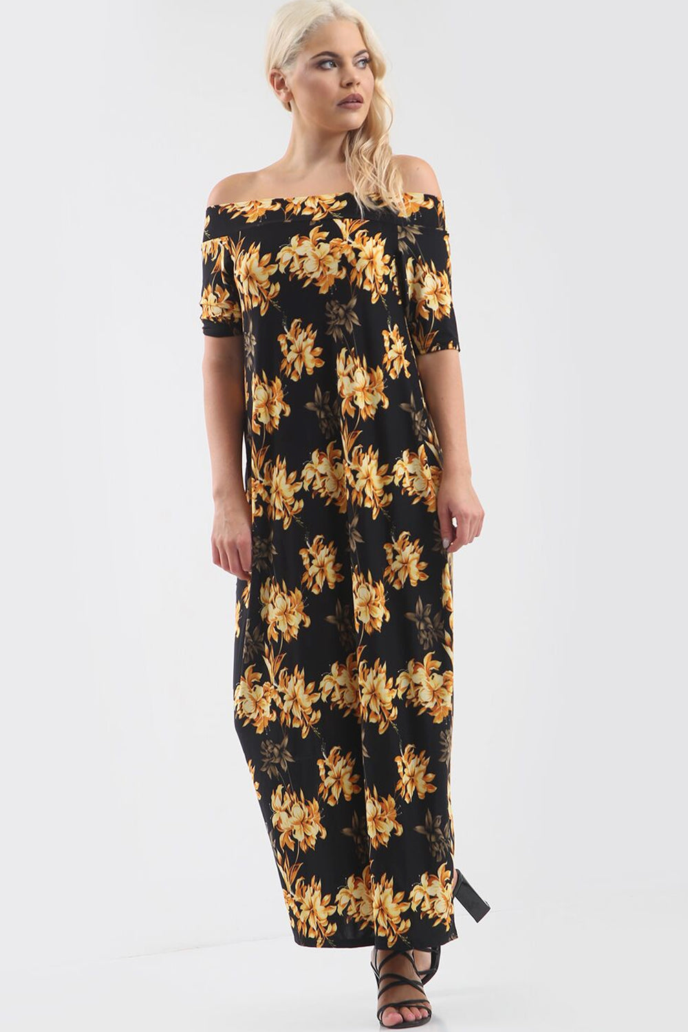 Black Off Shoulder Gold Floral Print Maxi Dress - bejealous-com