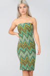 Aztec ZigZag Green Midi Bodycon Dress - bejealous-com