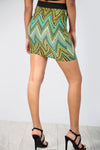 High Waist Green Aztec Print Tube Mini Skirt