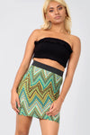 High Waist Green Aztec Print Tube Mini Skirt - bejealous-com