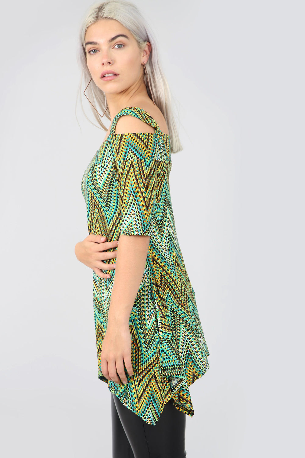 Cold Shoulder Green Aztec Print Swing Top - bejealous-com