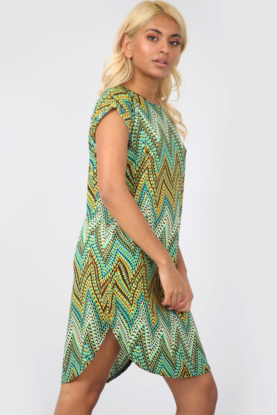 Aztec Green Curved Hem Baggy Tshirt Dress - bejealous-com