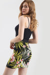 High Waist Purple Tropical Print Mini Skirt - bejealous-com