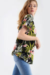 Green Leaf Oversize Tropical Print Roll Sleeve Tshirt - bejealous-com