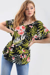 Green Leaf Oversize Tropical Print Roll Sleeve Tshirt