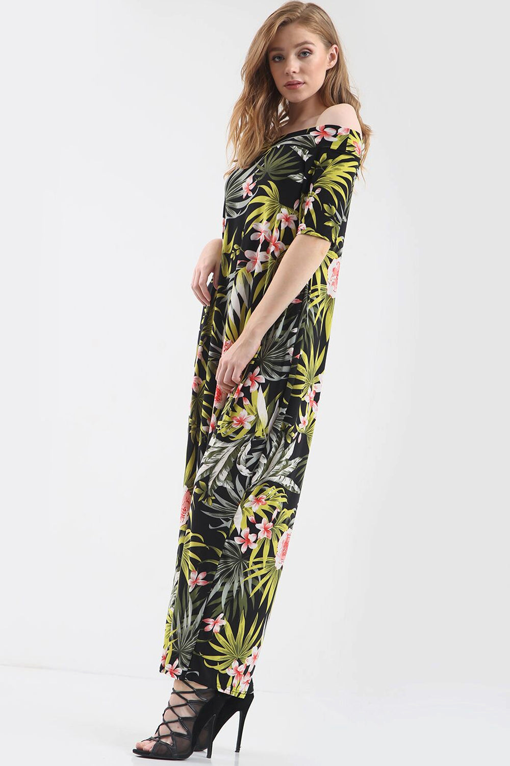 Off Shoulder Green Tropical Print Maxi Dress - bejealous-com