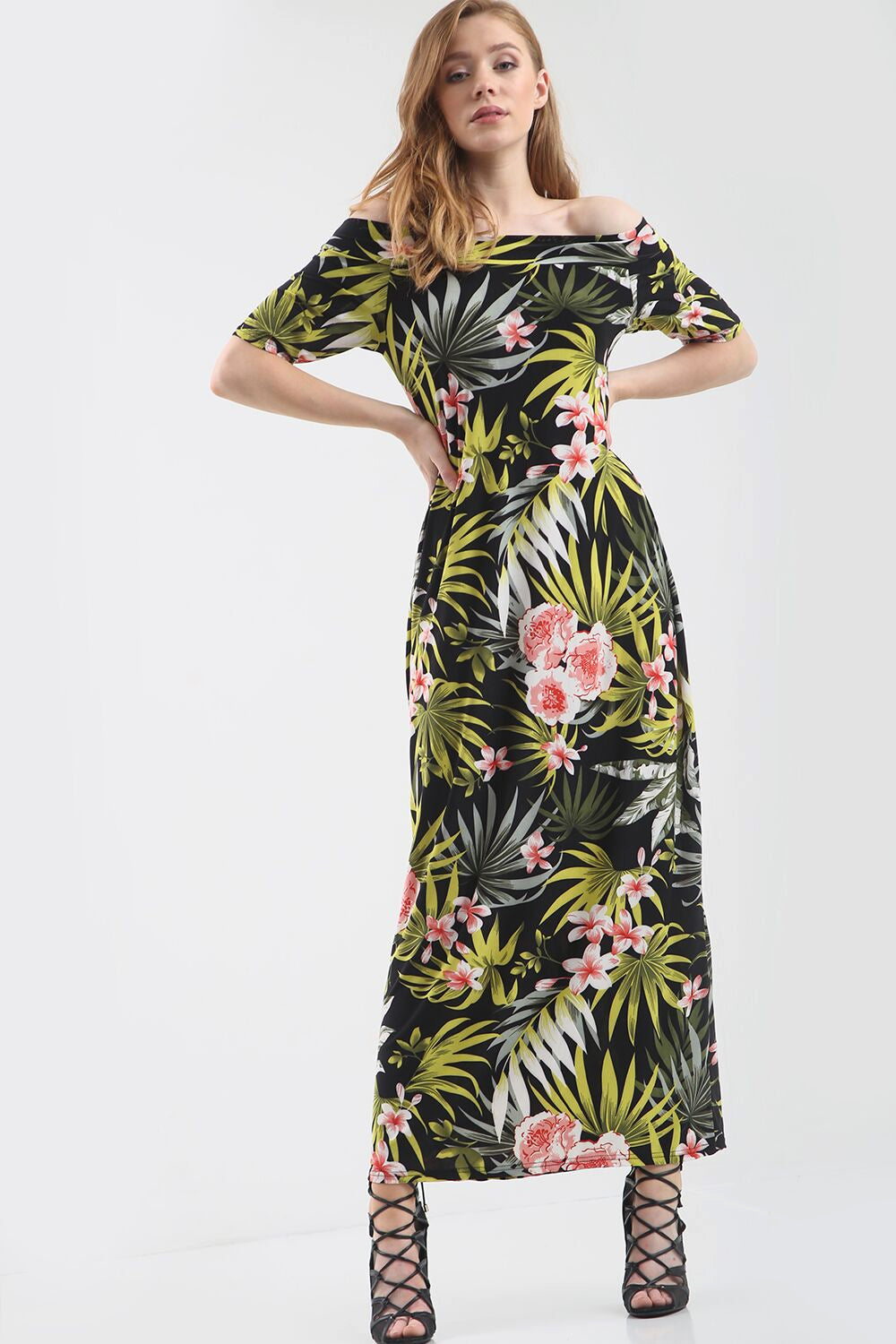Off Shoulder Green Tropical Print Maxi Dress