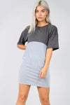 Colour Block Oversize Basic Tshirt Dress With Pockets - bejealous-com