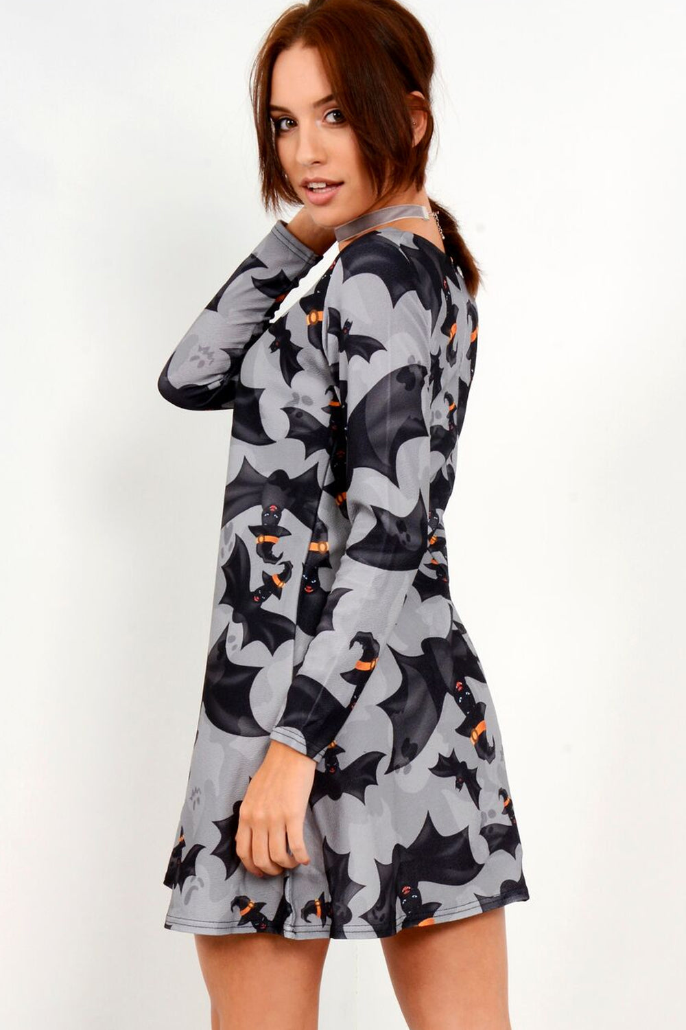 Long Sleeve Grey Halloween Print Dress - bejealous-com