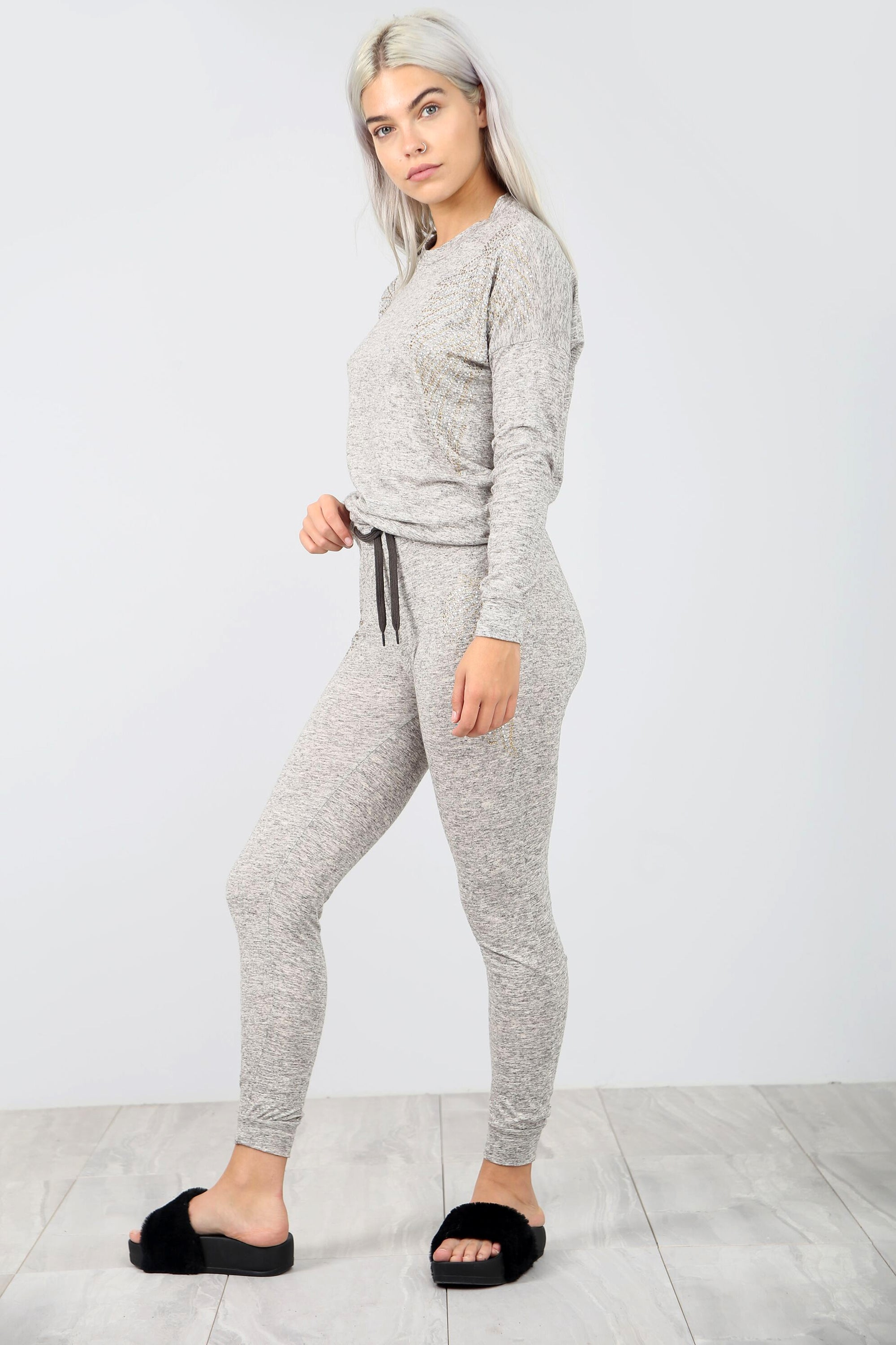 Diamonte Fine Knit Grey Lounge Wear Coord Set - bejealous-com