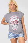 Short Sleeve Skull Print Loose Fit Tshirt - bejealous-com