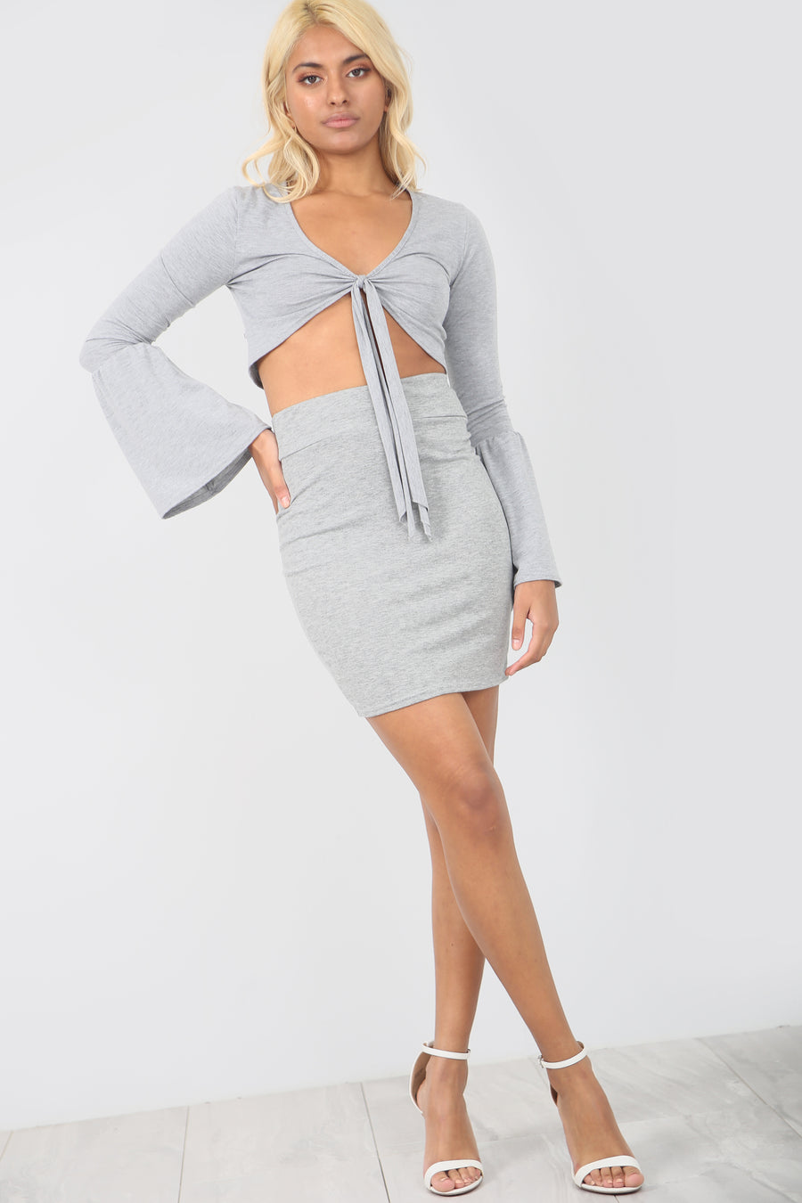 High Waist Basic Jersey Grey Mini Skirt - bejealous-com