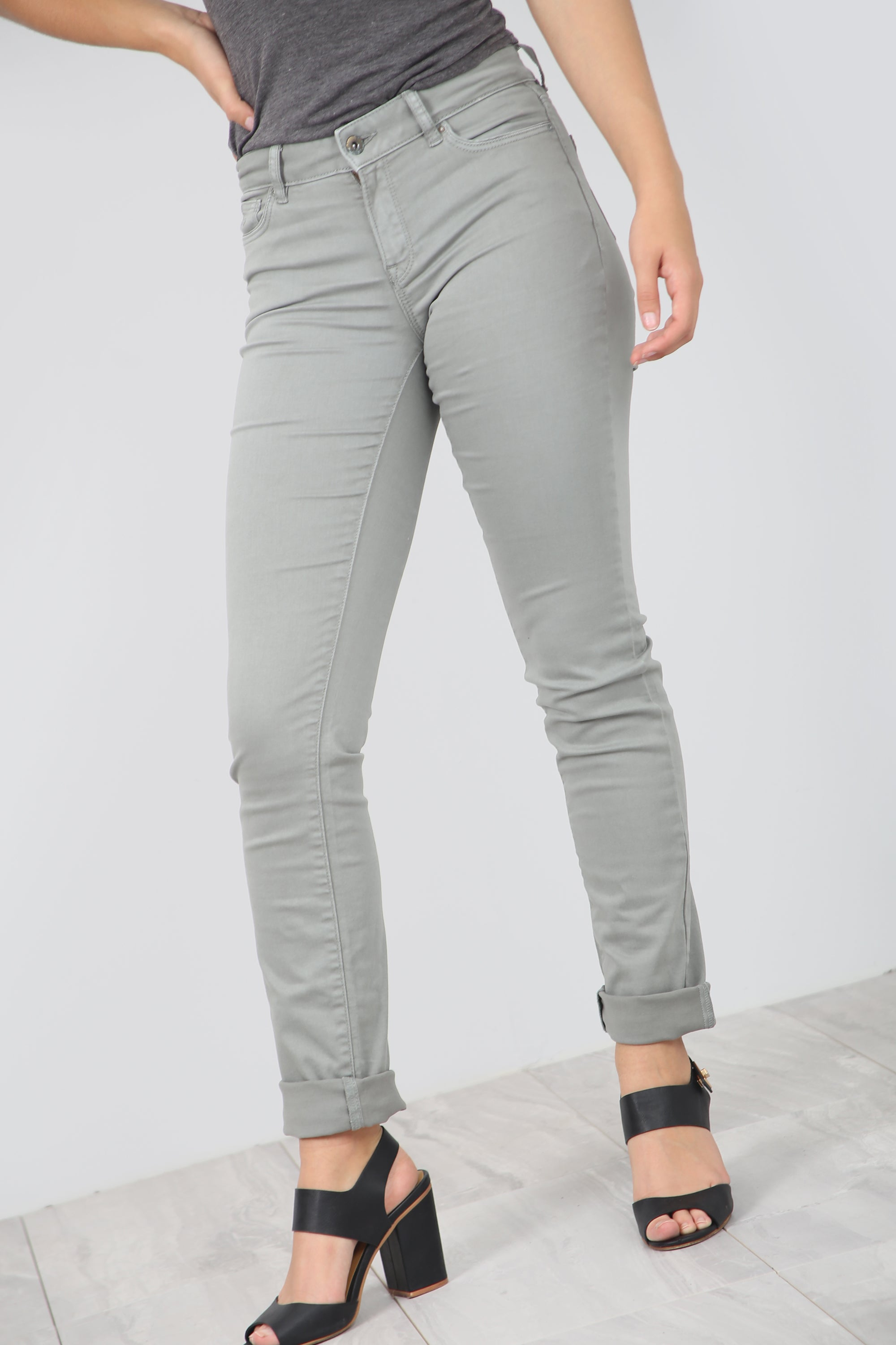 High Waist Slim Leg Chino Trousers - bejealous-com