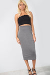 High Waist Basic Charcoal Midi Pencil Skirt - bejealous-com